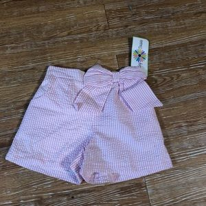 Pink Stripe Bow Shorts Counting Daisies Large